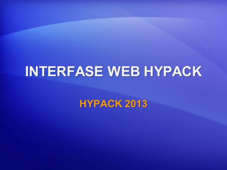 INTERFASE WEB HYPACK HYPACK 2013