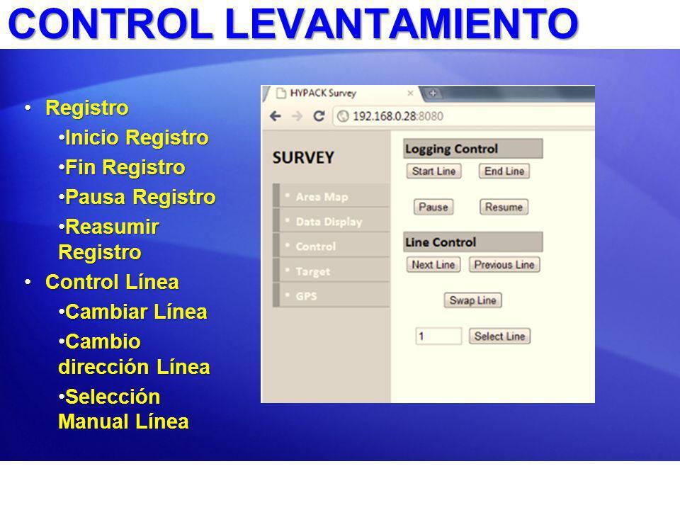 CONTROL LEVANTAMIENTO RegistroRegistro Inicio RegistroInicio Registro Fin RegistroFin Registro Pausa RegistroPausa Registro Reasumir RegistroReasumir