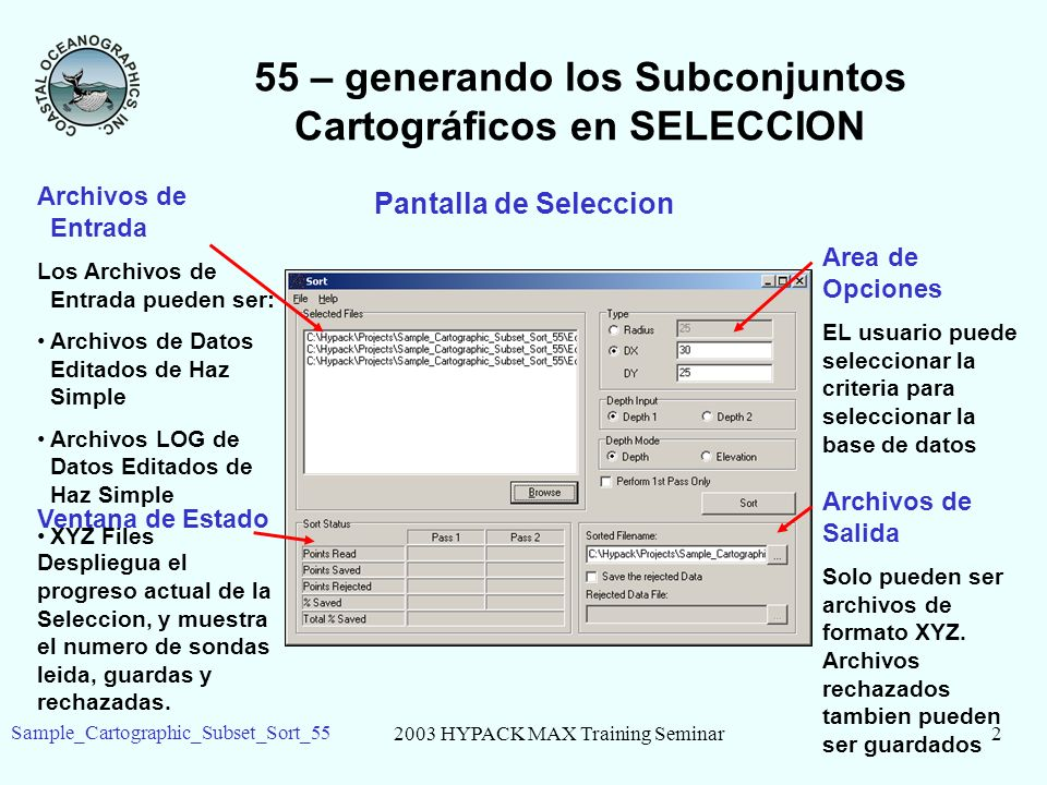 2003 HYPACK MAX Training Seminar2 Sample_Cartographic_Subset_Sort_55 55 – generando los Subconjuntos Cartográficos en SELECCION Pantalla de Seleccion