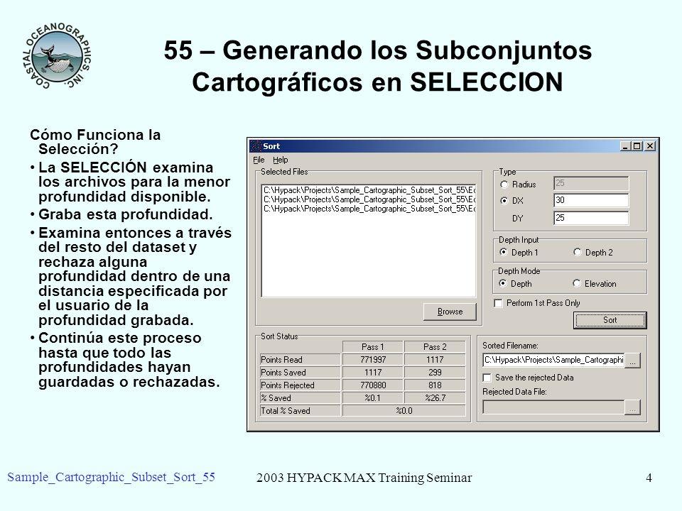 2003 HYPACK MAX Training Seminar4 Sample_Cartographic_Subset_Sort_55 55 – Generando los Subconjuntos Cartográficos en SELECCION Cómo Funciona la Selección.