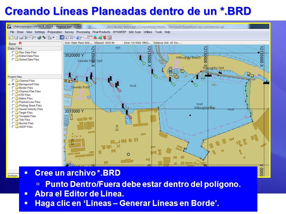 Creando Líneas Planeadas dentro de un *.BRD Cree un archivo *.BRD Punto Dentro/Fuera debe estar dentro del polígono.
