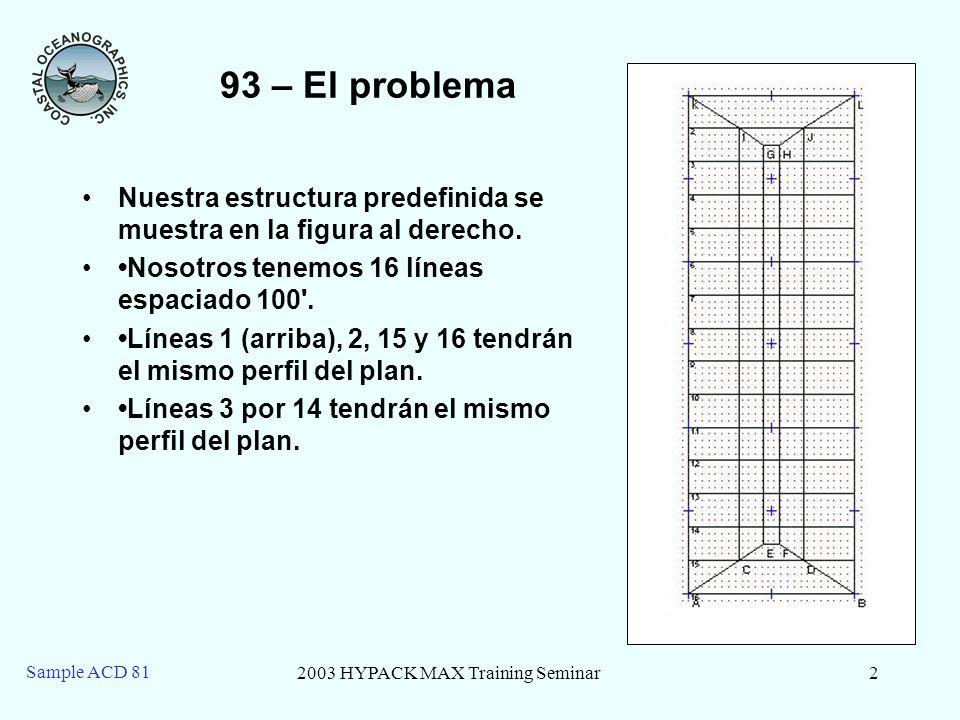 2003 HYPACK MAX Training Seminar2 Sample ACD 81 93 – El problema Nuestra estructura predefinida se muestra en la figura al derecho.