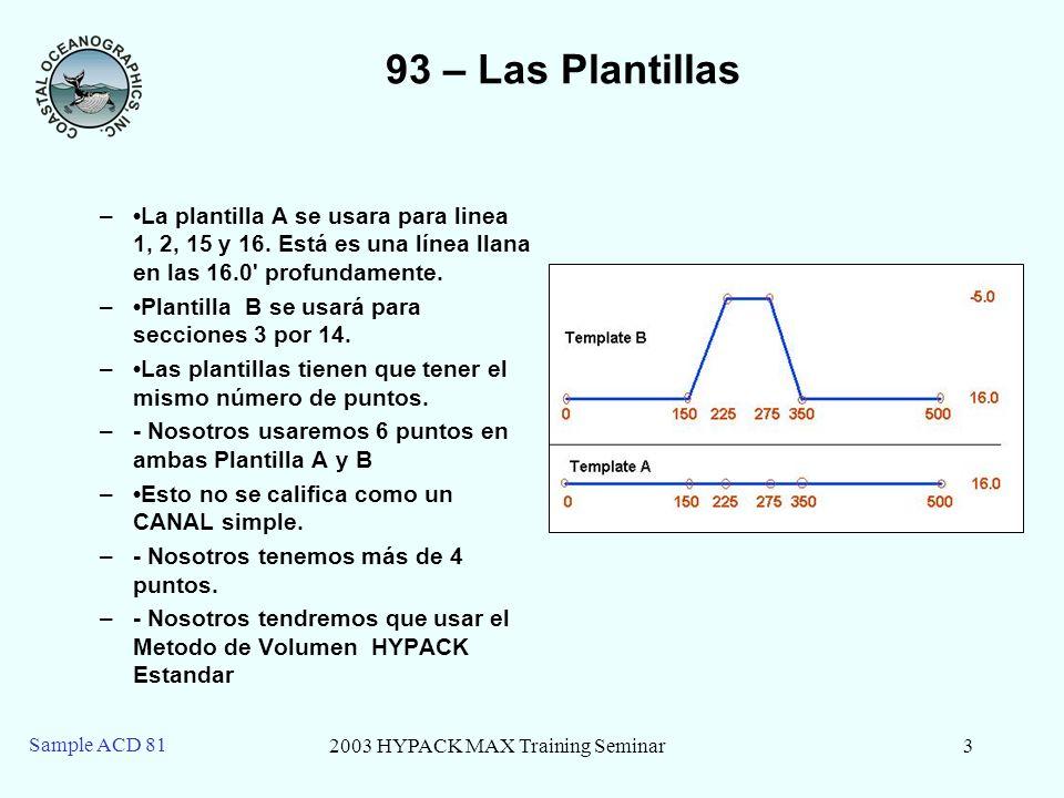 2003 HYPACK MAX Training Seminar3 Sample ACD 81 93 – Las Plantillas –La plantilla A se usara para linea 1, 2, 15 y 16.