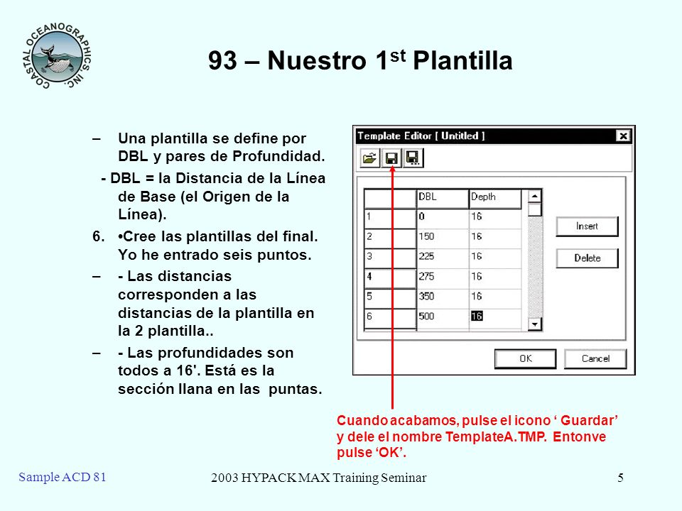2003 HYPACK MAX Training Seminar5 Sample ACD 81 93 – Nuestro 1 st Plantilla –Una plantilla se define por DBL y pares de Profundidad.
