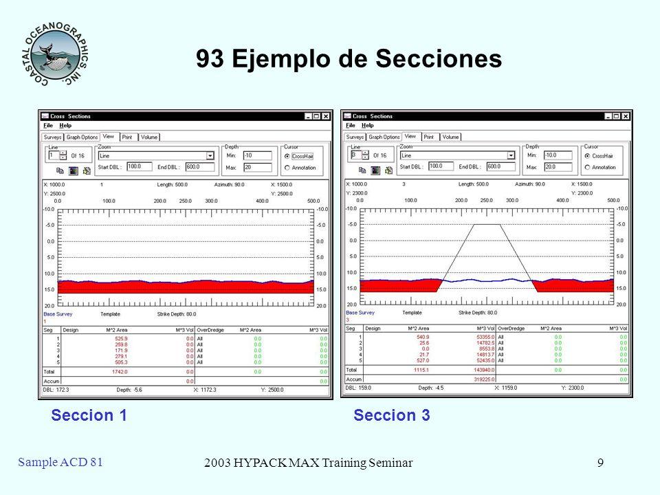 2003 HYPACK MAX Training Seminar9 Sample ACD 81 93 Ejemplo de Secciones Seccion 1Seccion 3