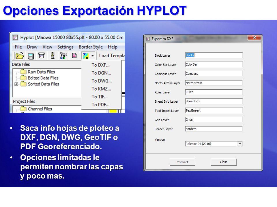 Opciones Exportación HYPLOT Saca info hojas de ploteo a DXF, DGN, DWG, GeoTIF o PDF Georeferenciado.Saca info hojas de ploteo a DXF, DGN, DWG, GeoTIF