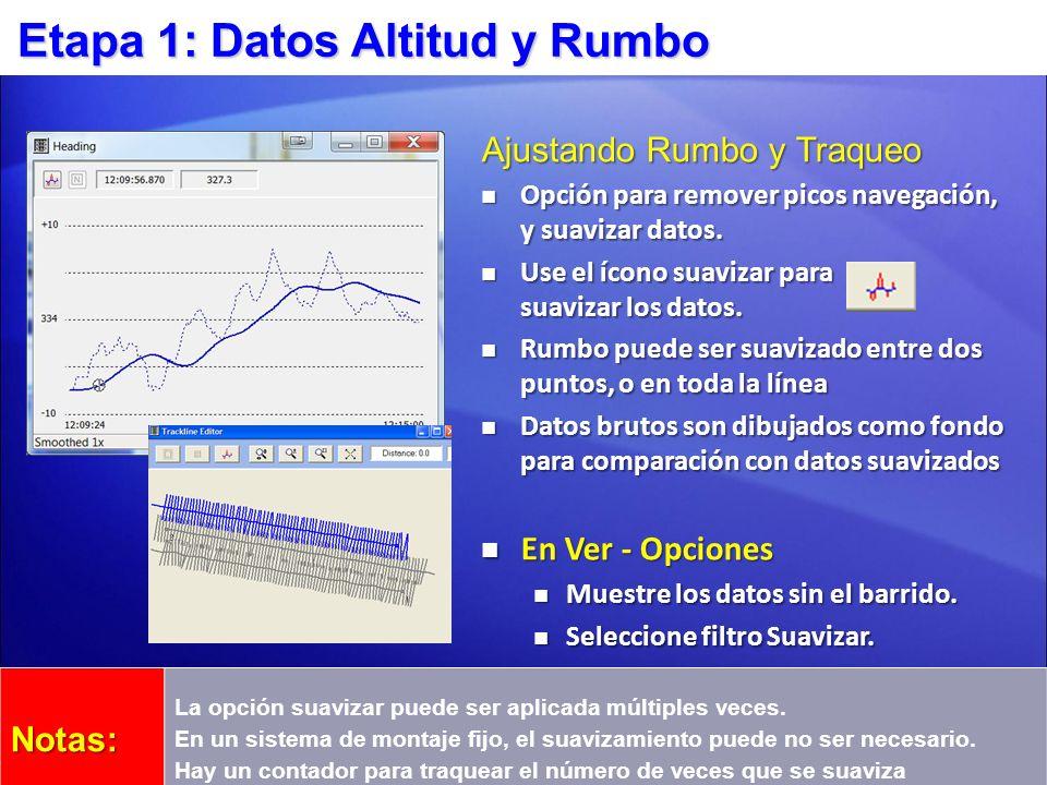 Etapa 1: Datos Altitud y Rumbo Ajustando Rumbo y Traqueo Opción para remover picos navegación, y suavizar datos. Opción para remover picos navegación,