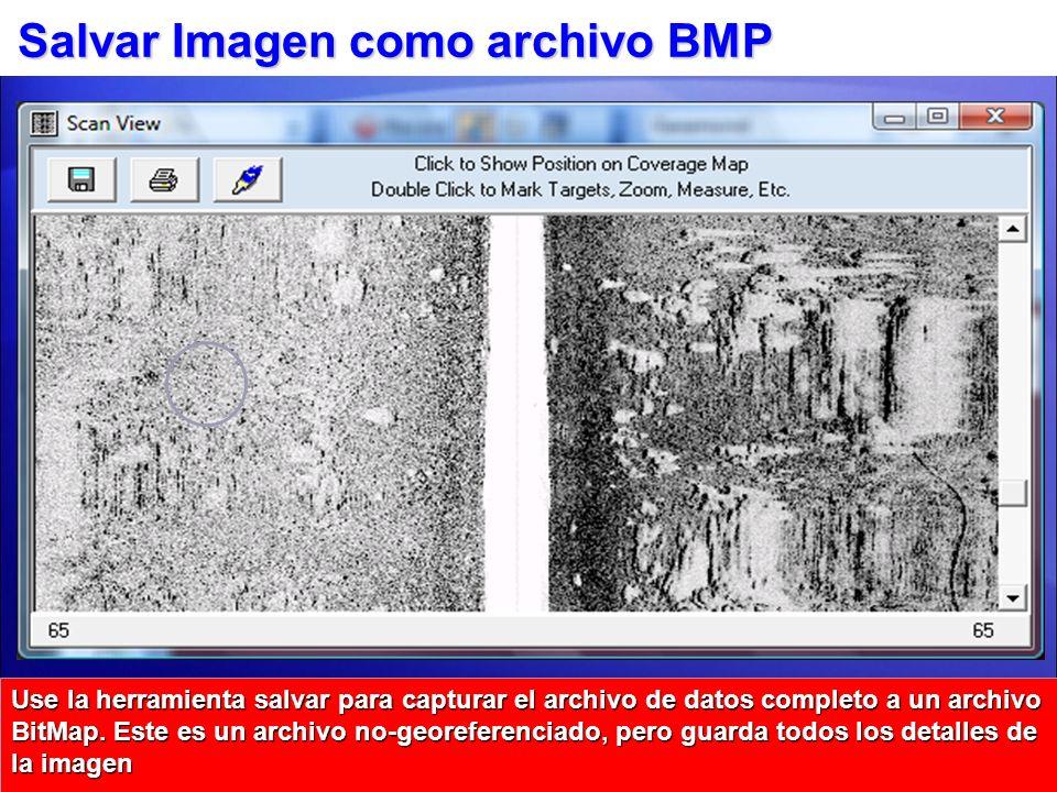 Salvar Imagen como archivo BMP Use la herramienta salvar para capturar el archivo de datos completo a un archivo BitMap. Este es un archivo no-georefe