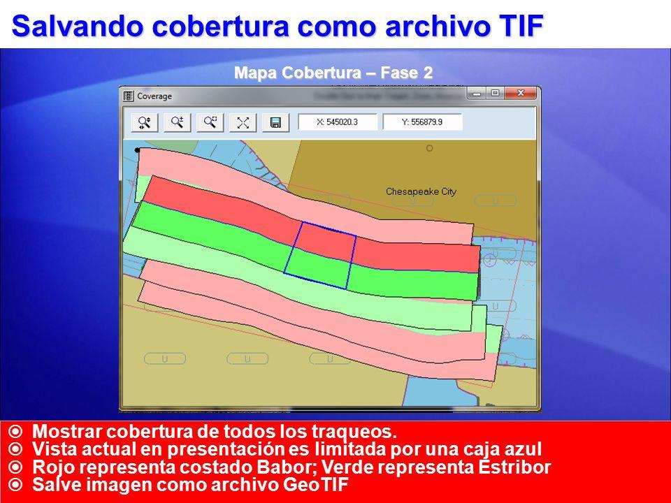 Salvando cobertura como archivo TIF Mostrar cobertura de todos los traqueos. Vista actual en presentación es limitada por una caja azul Rojo represent