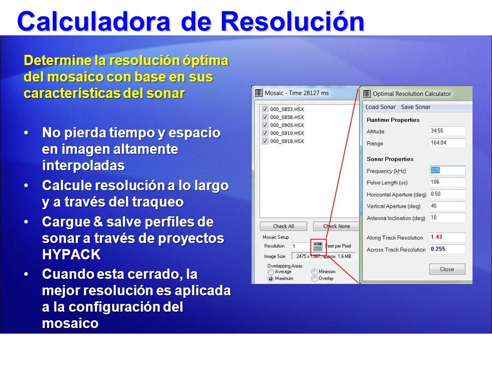 Calculadora de Resolución Determine la resolución óptima del mosaico con base en sus características del sonar No pierda tiempo y espacio en imagen al