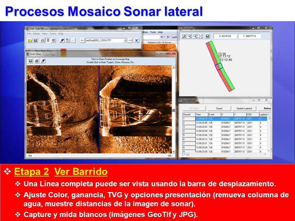 Procesos Mosaico Sonar lateral Etapa 3 Mosaico Cree mosaicos, exporte imágenes GeoTiff.