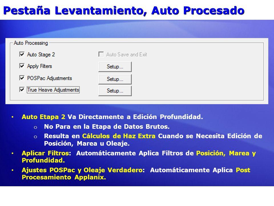 Pestaña Levantamiento, Auto Procesado Auto Etapa 2 Va Directamente a Edición Profundidad. o No Para en la Etapa de Datos Brutos. o Resulta en Cálculos