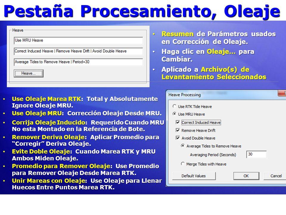 Pestaña Procesamiento, Oleaje Use Oleaje Marea RTK: Total y Absolutamente Ignore Oleaje MRU. Use Oleaje Marea RTK: Total y Absolutamente Ignore Oleaje