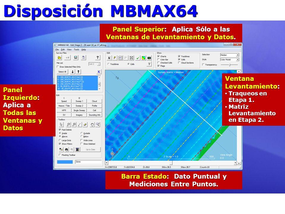 Disposición MBMAX64 Panel Superior: Aplica Sólo a las Ventanas de Levantamiento y Datos. Panel Izquierdo: Aplica a Todas las Ventanas y Datos Barra Es