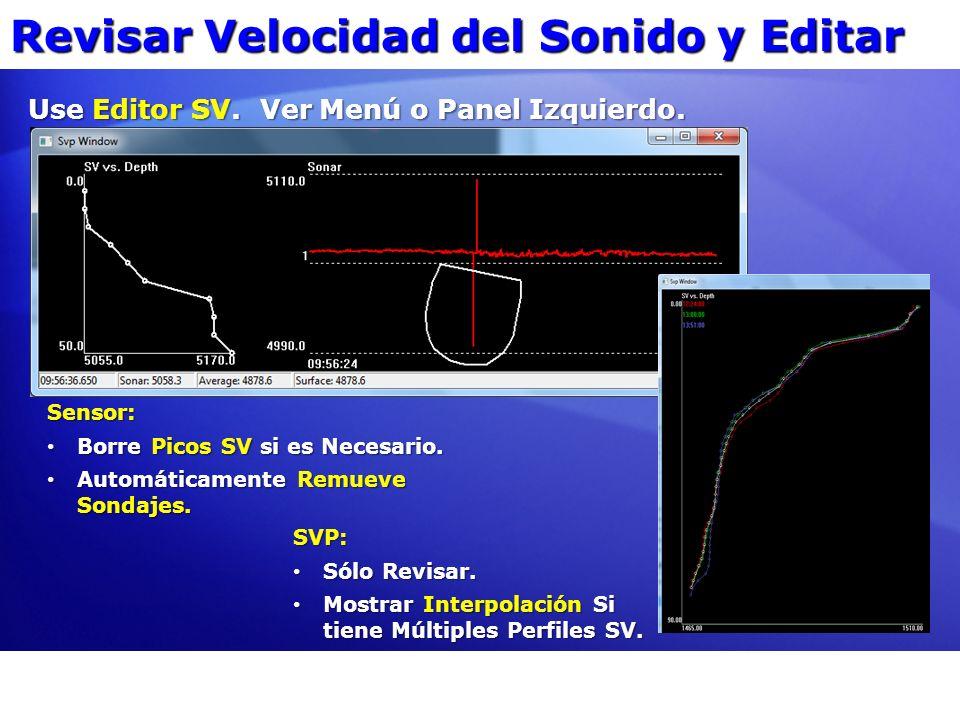 Revisar Velocidad del Sonido y Editar Use Editor SV. Ver Menú o Panel Izquierdo. Sensor: Borre Picos SV si es Necesario. Borre Picos SV si es Necesari