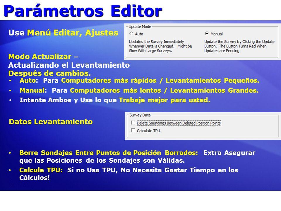 Parámetros Editor Use Menú Editar, Ajustes Modo Actualizar – Actualizando el Levantamiento Después de cambios. Auto: Para Computadores más rápidos / L