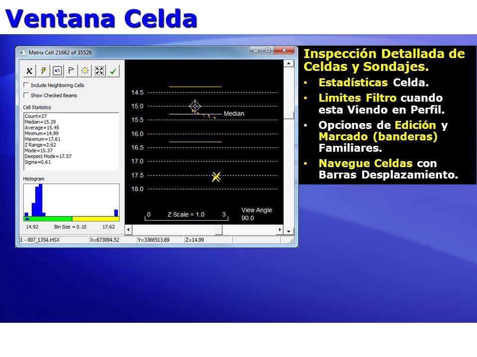 Ventana Celda Inspección Detallada de Celdas y Sondajes. Estadísticas Celda. Estadísticas Celda. Limites Filtro cuando esta Viendo en Perfil. Limites