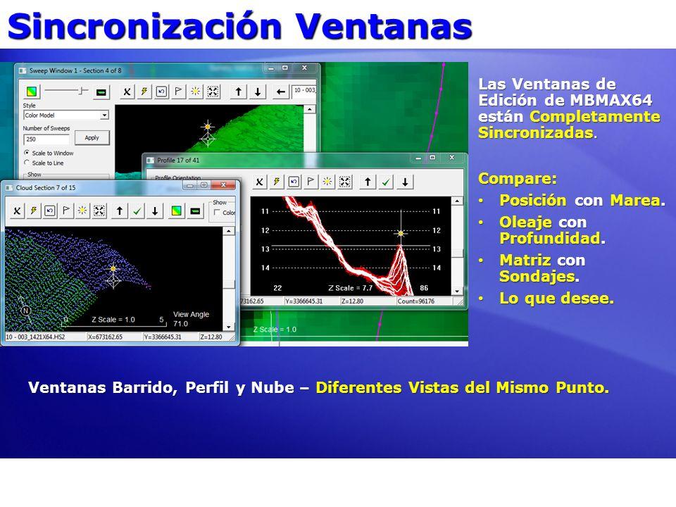 Sincronización Ventanas Ventanas Barrido, Perfil y Nube – Diferentes Vistas del Mismo Punto. Las Ventanas de Edición de MBMAX64 están Completamente Si