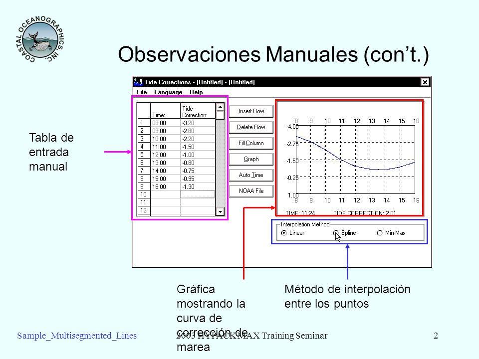 Sample_Multisegmented_Lines2003 HYPACK MAX Training Seminar3 Observaciones Manuales(cont) Interpolación Lineal Interpolación Polinomica Require como mínimo 5 puntos