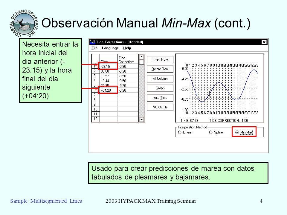 Sample_Multisegmented_Lines2003 HYPACK MAX Training Seminar4 Observación Manual Min-Max (cont.) Usado para crear predicciones de marea con datos tabulados de pleamares y bajamares.