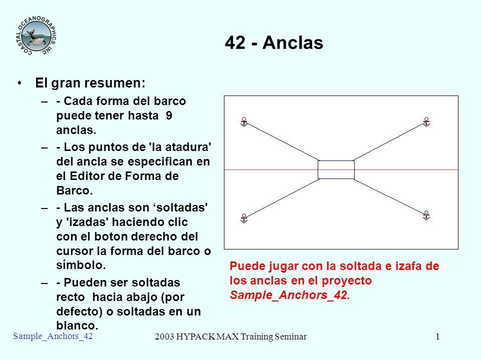 2003 HYPACK MAX Training Seminar1 Sample_Anchors_42 42 - Anclas El gran resumen: –- Cada forma del barco puede tener hasta 9 anclas. –- Los puntos de
