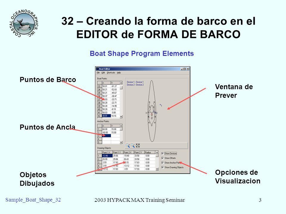 2003 HYPACK MAX Training Seminar3 Sample_Boat_Shape_32 32 – Creando la forma de barco en el EDITOR de FORMA DE BARCO Ventana de Prever Puntos de Barco Puntos de Ancla Objetos Dibujados Opciones de Visualizacion Boat Shape Program Elements