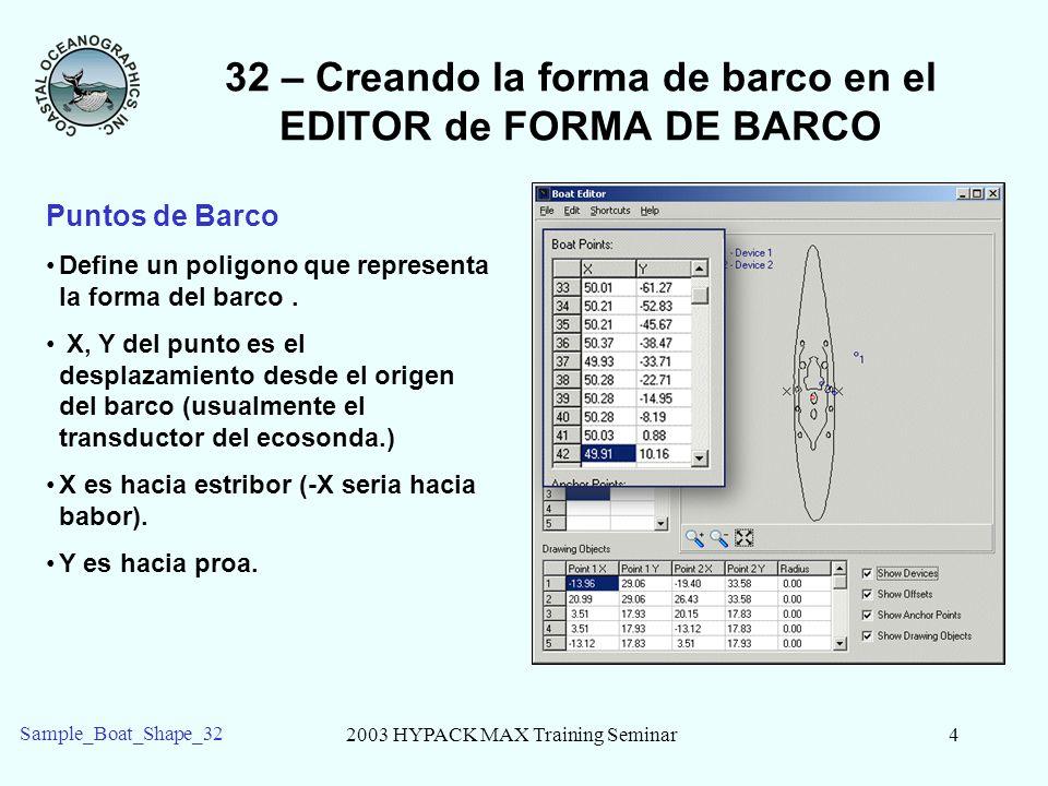 2003 HYPACK MAX Training Seminar4 Sample_Boat_Shape_32 32 – Creando la forma de barco en el EDITOR de FORMA DE BARCO Puntos de Barco Define un poligono que representa la forma del barco.