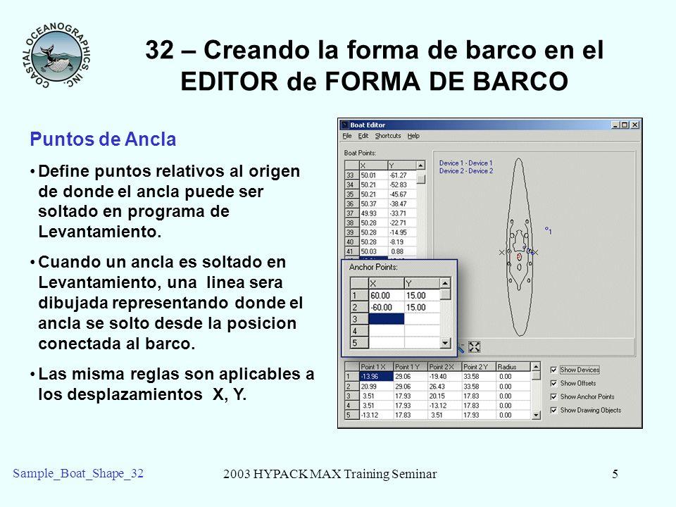 2003 HYPACK MAX Training Seminar6 Sample_Boat_Shape_32 32 – Creando la forma de barco en el EDITOR de FORMA DE BARCO Dibujando Objetos Dibujando objetos son lineas simples que seran desplegadas como parte del archivo de forma de Barco, pero estna conectadas.