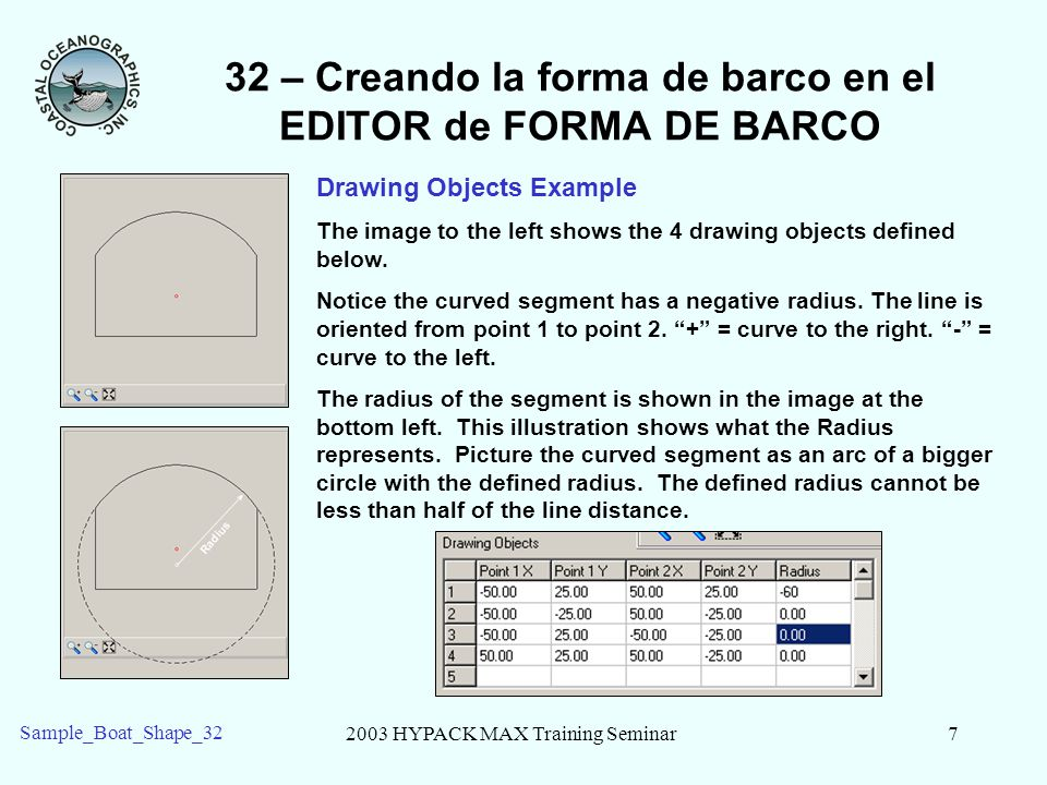 2003 HYPACK MAX Training Seminar7 Sample_Boat_Shape_32 32 – Creando la forma de barco en el EDITOR de FORMA DE BARCO Drawing Objects Example The image to the left shows the 4 drawing objects defined below.