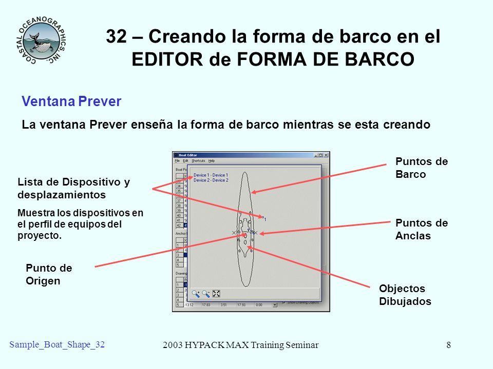 2003 HYPACK MAX Training Seminar9 Sample_Boat_Shape_32 32 – Creando la forma de barco en el EDITOR de FORMA DE BARCO Opciones de Visualizacion Las 4 cajas en la parte derecha inferior son las opciones de visualizacion.
