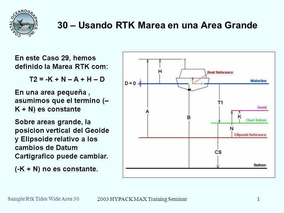 2003 HYPACK MAX Training Seminar1 Sample Rtk Tides Wide Area 30 30 – Usando RTK Marea en una Area Grande En este Caso 29, hemos definido la Marea RTK com: T2 = -K + N – A + H – D En una area pequeña, asumimos que el termino (– K + N) es constante Sobre areas grande, la posicion vertical del Geoide y Elipsoide relativo a los cambios de Datum Cartigrafico puede cambiar.
