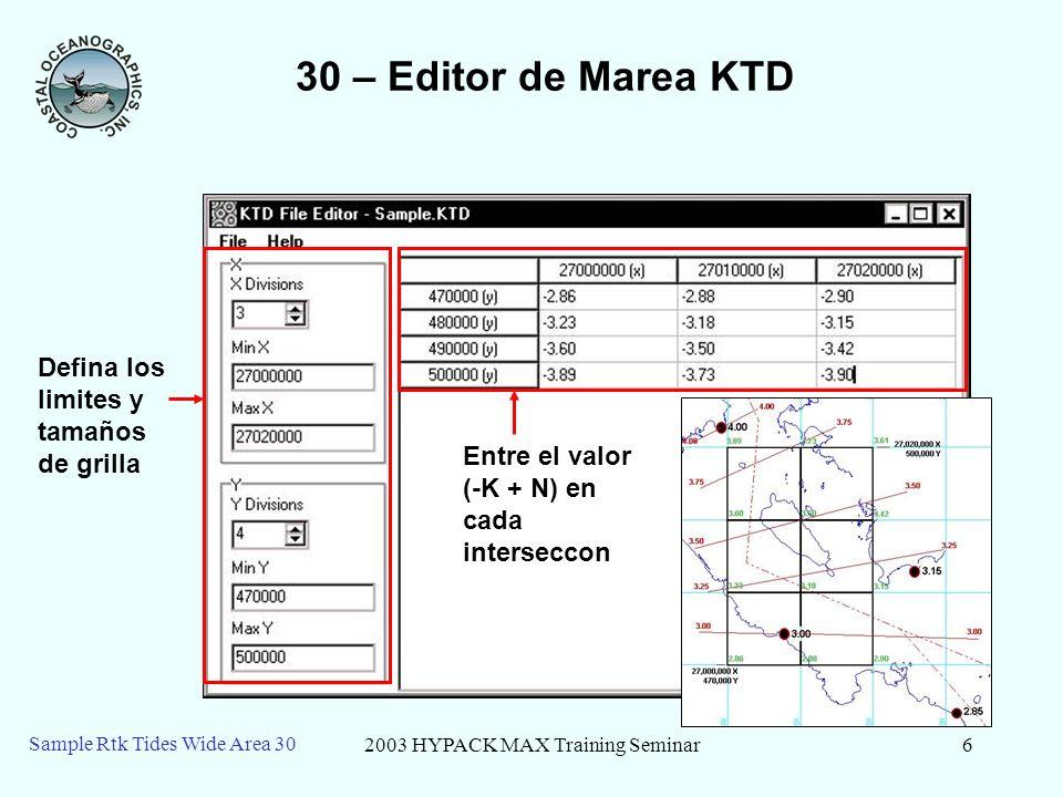 2003 HYPACK MAX Training Seminar6 Sample Rtk Tides Wide Area 30 30 – Editor de Marea KTD Defina los limites y tamaños de grilla Entre el valor (-K + N) en cada interseccon