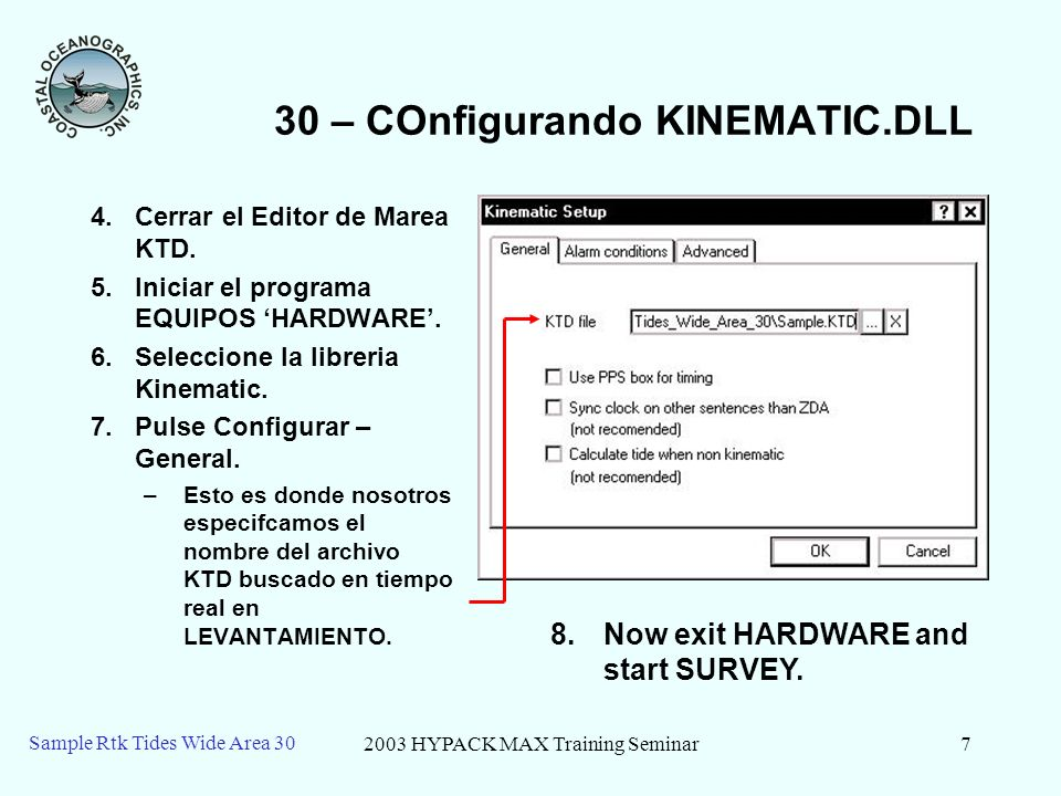 2003 HYPACK MAX Training Seminar8 Sample Rtk Tides Wide Area 30 30 – KTD en SURVEY $GPGGA,135600,4606.800000,N,08401.000000,W,3,08, 0.9,2.00,M,0.00,M,1,0000*4D A la hora de captura: A = 2.0m = 6.56 H = 7 D = 0 -K + N = 3.85 T2 = -K + N – A + H – D T2 = 3.85 -6.56 + 7 – 0 T2 = 4.29