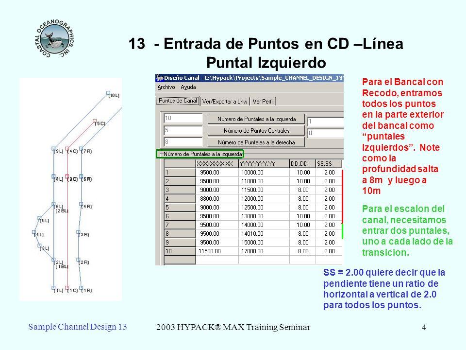 2003 HYPACK® MAX Training Seminar4 13 - Entrada de Puntos en CD –Línea Puntal Izquierdo Para el Bancal con Recodo, entramos todos los puntos en la par