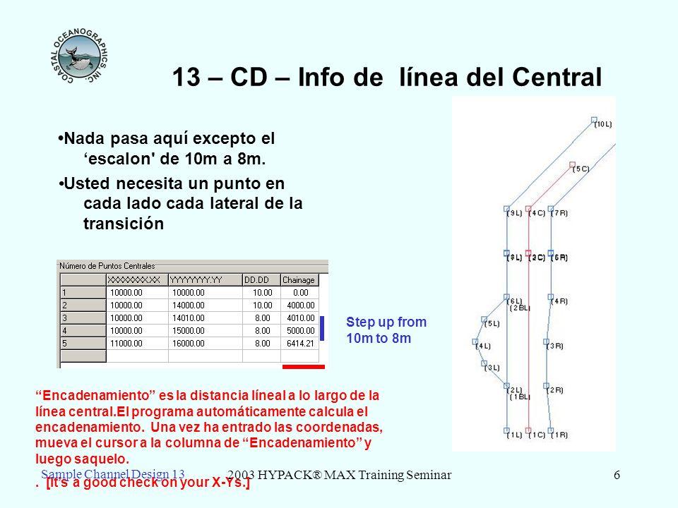 2003 HYPACK® MAX Training Seminar6 13 – CD – Info de línea del Central Nada pasa aquí excepto el escalon' de 10m a 8m. Usted necesita un punto en cada