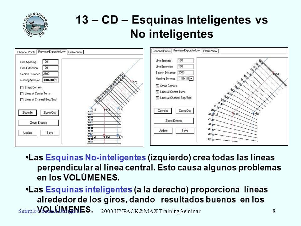 2003 HYPACK® MAX Training Seminar8 13 – CD – Esquinas Inteligentes vs No inteligentes Las Esquinas No-inteligentes (izquierdo) crea todas las líneas p