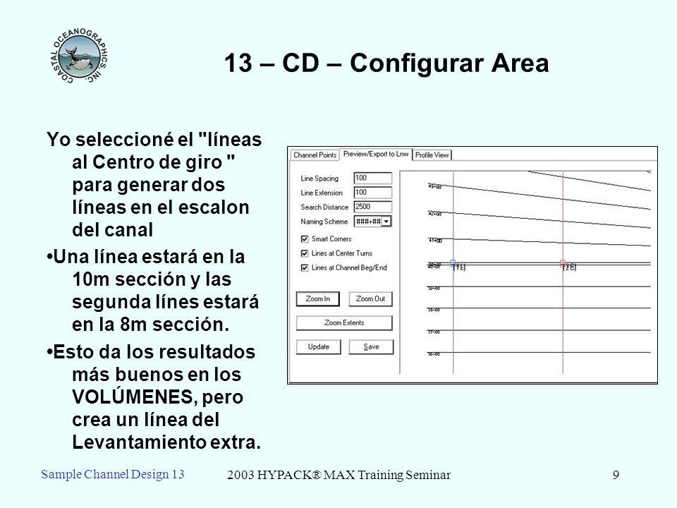 2003 HYPACK® MAX Training Seminar9 13 – CD – Configurar Area Yo seleccioné el