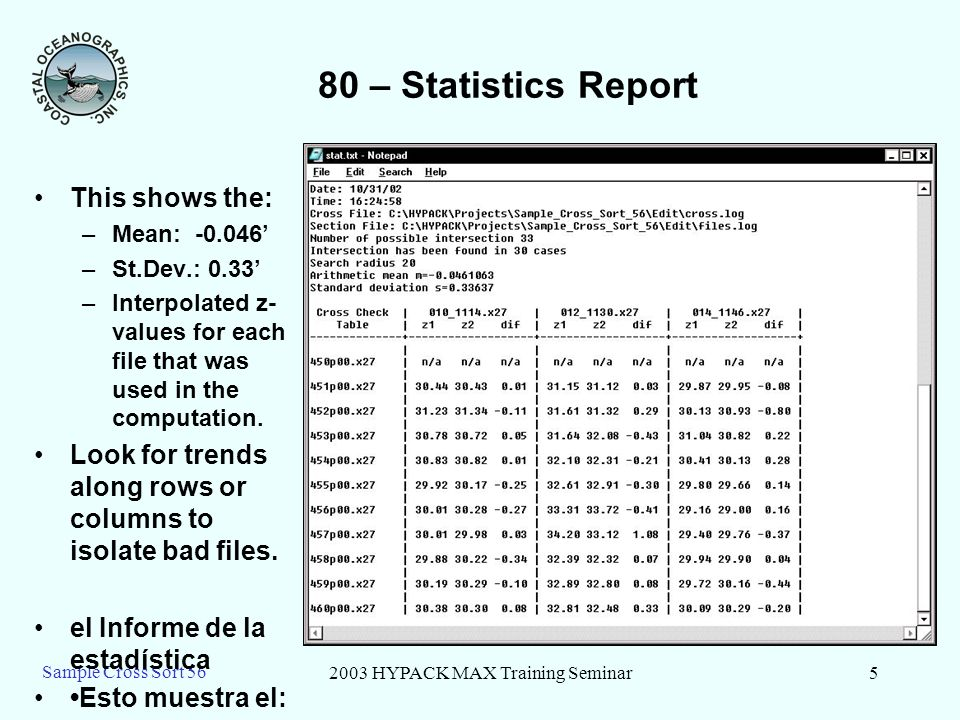 2003 HYPACK MAX Training Seminar5 Sample Cross Sort 56 80 – Statistics Report This shows the: –Mean: -0.046 –St.Dev.: 0.33 –Interpolated z- values for each file that was used in the computation.