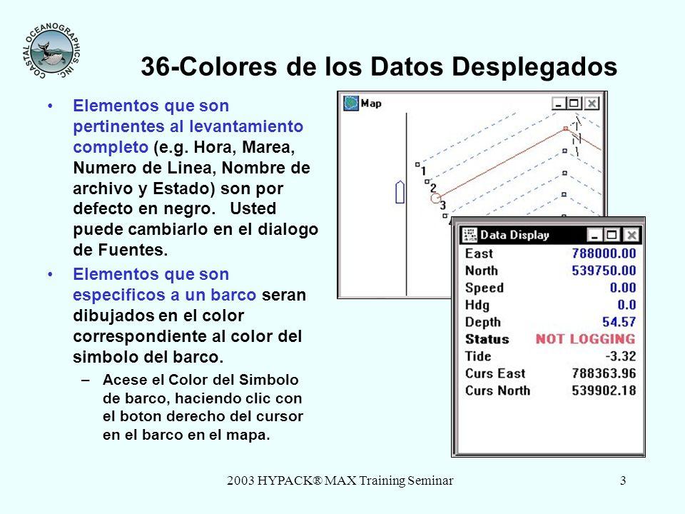 2003 HYPACK® MAX Training Seminar3 36-Colores de los Datos Desplegados Elementos que son pertinentes al levantamiento completo (e.g. Hora, Marea, Nume
