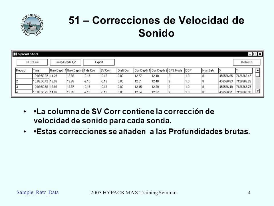2003 HYPACK MAX Training Seminar4 Sample_Raw_Data 51 – Correcciones de Velocidad de Sonido La columna de SV Corr contiene la corrección de velocidad d