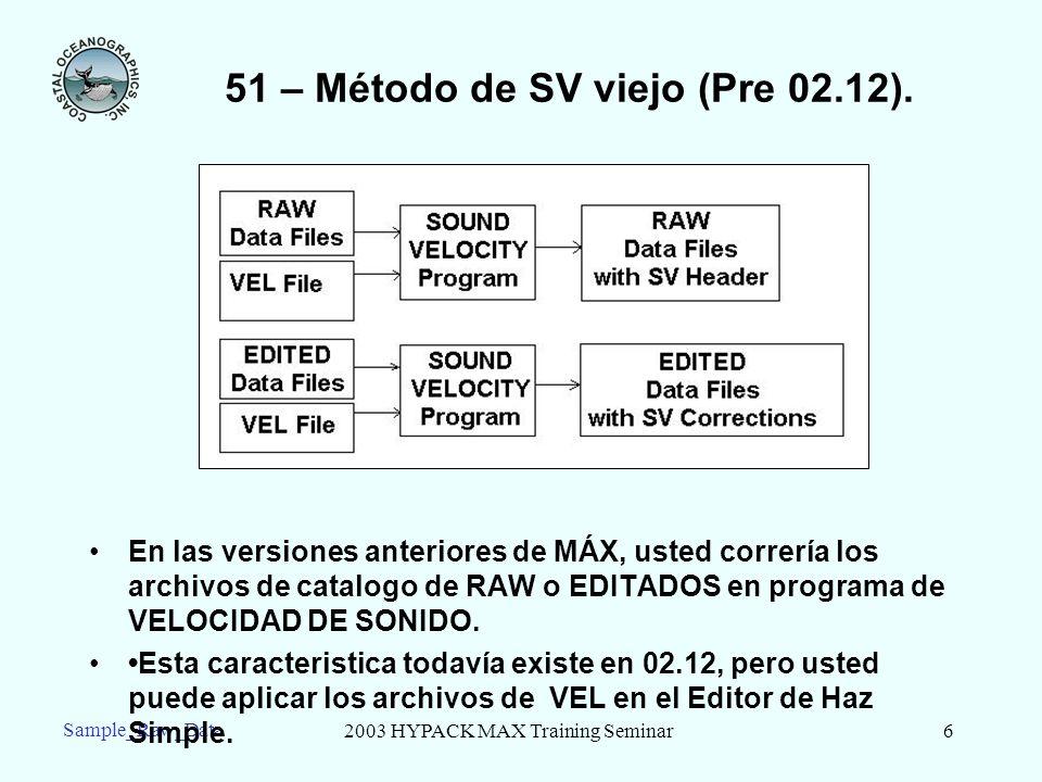 2003 HYPACK MAX Training Seminar6 Sample_Raw_Data 51 – Método de SV viejo (Pre 02.12). En las versiones anteriores de MÁX, usted correría los archivos