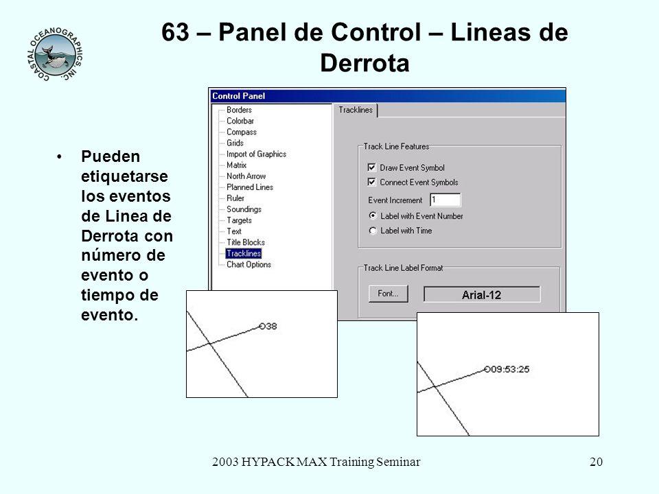 2003 HYPACK MAX Training Seminar20 63 – Panel de Control – Lineas de Derrota Pueden etiquetarse los eventos de Linea de Derrota con número de evento o tiempo de evento.
