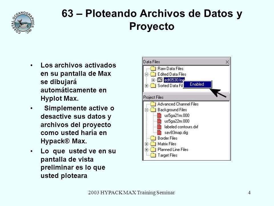 2003 HYPACK MAX Training Seminar4 63 – Ploteando Archivos de Datos y Proyecto Los archivos activados en su pantalla de Max se dibujará automáticamente en Hyplot Max.