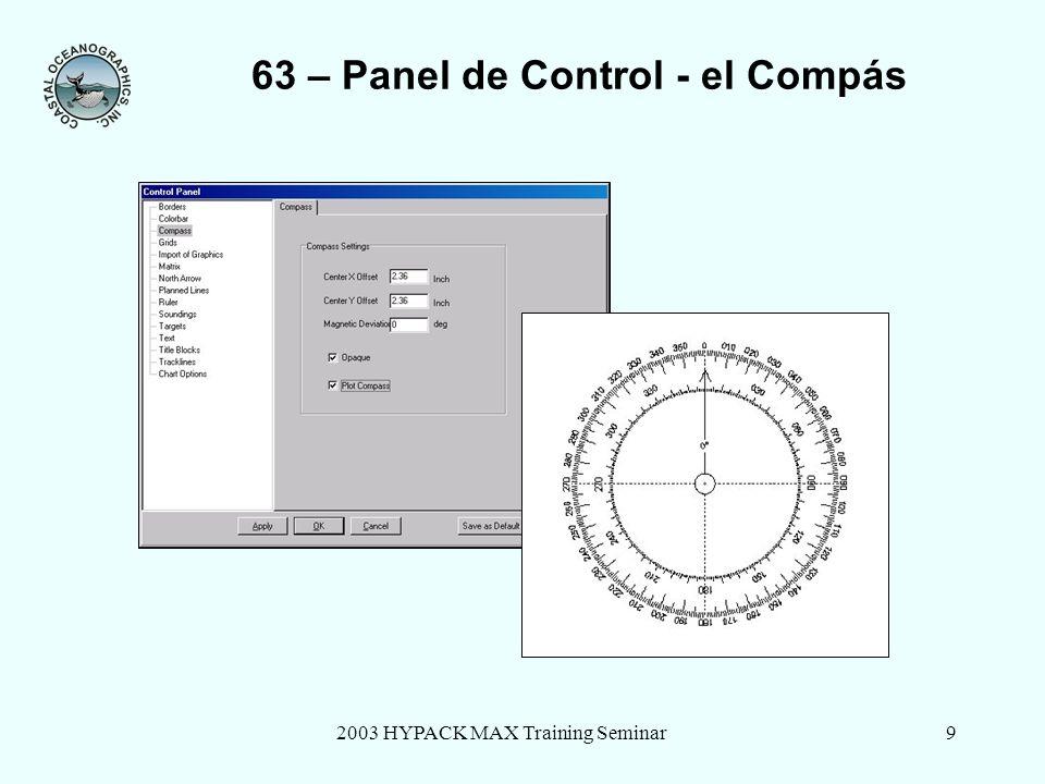 2003 HYPACK MAX Training Seminar9 63 – Panel de Control - el Compás