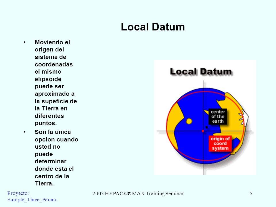 2003 HYPACK® MAX Training Seminar5 Proyecto: Sample_Three_Param Local Datum Moviendo el origen del sistema de coordenadas el mismo elipsoide puede ser aproximado a la supeficie de la Tierra en diferentes puntos.