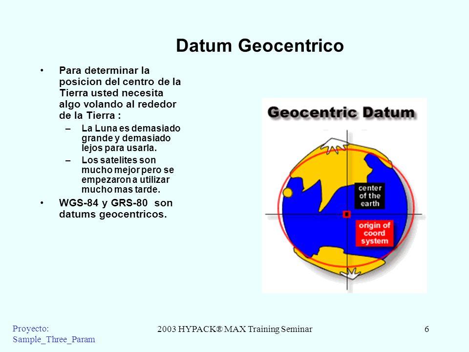2003 HYPACK® MAX Training Seminar6 Proyecto: Sample_Three_Param Datum Geocentrico Para determinar la posicion del centro de la Tierra usted necesita a