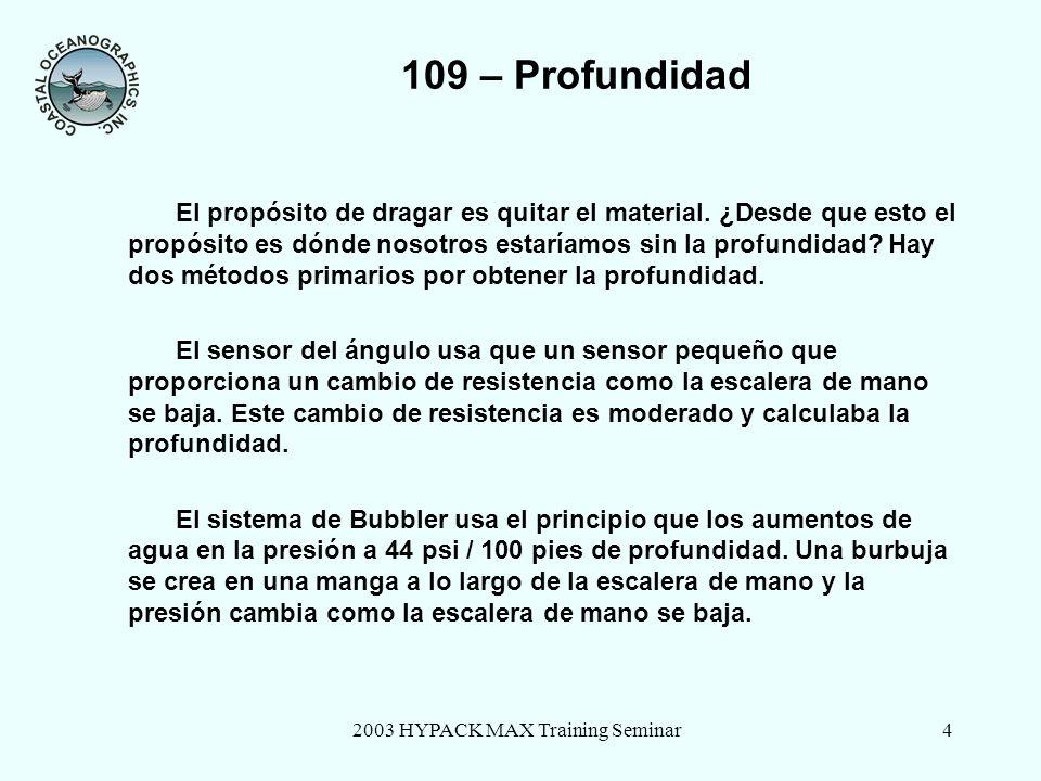 2003 HYPACK MAX Training Seminar4 109 – Profundidad El propósito de dragar es quitar el material.