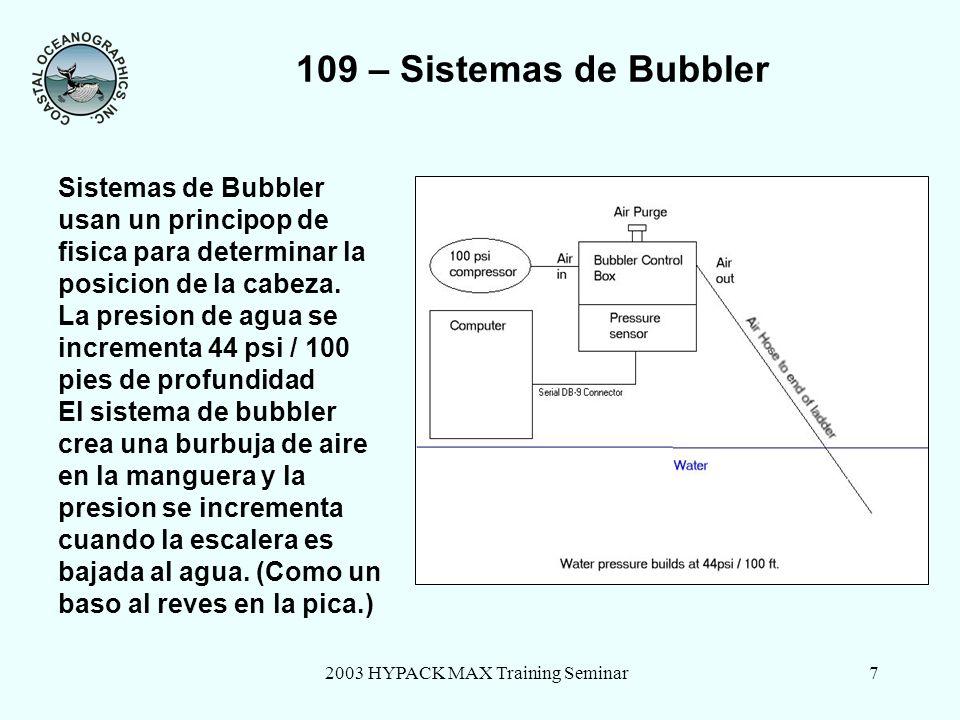 2003 HYPACK MAX Training Seminar7 109 – Sistemas de Bubbler Sistemas de Bubbler usan un principop de fisica para determinar la posicion de la cabeza.