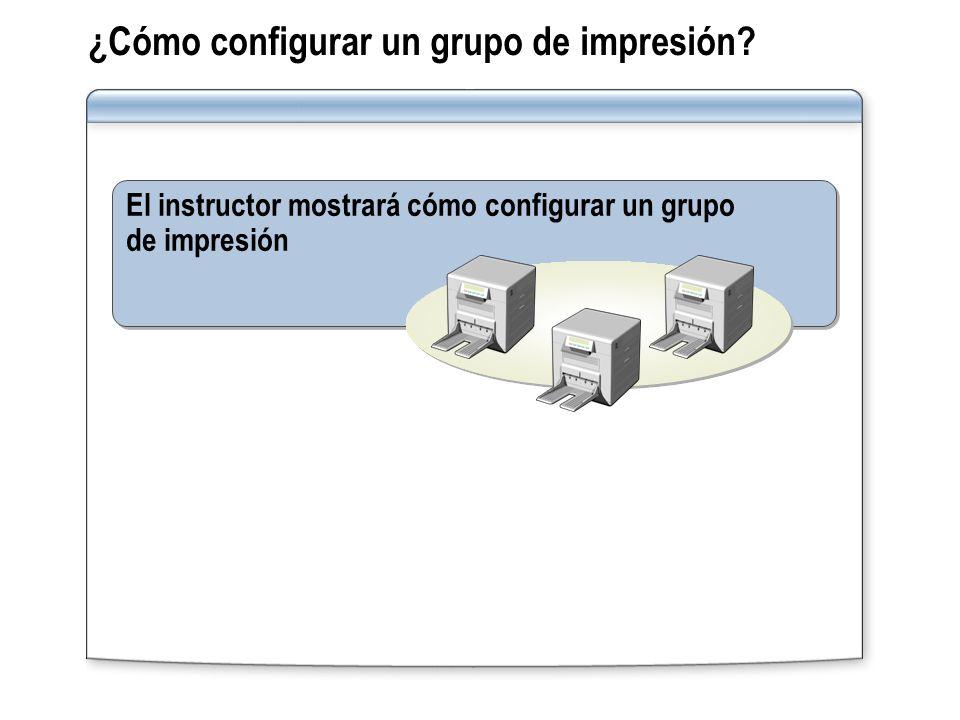 ¿Cómo configurar un grupo de impresión? El instructor mostrará cómo configurar un grupo de impresión