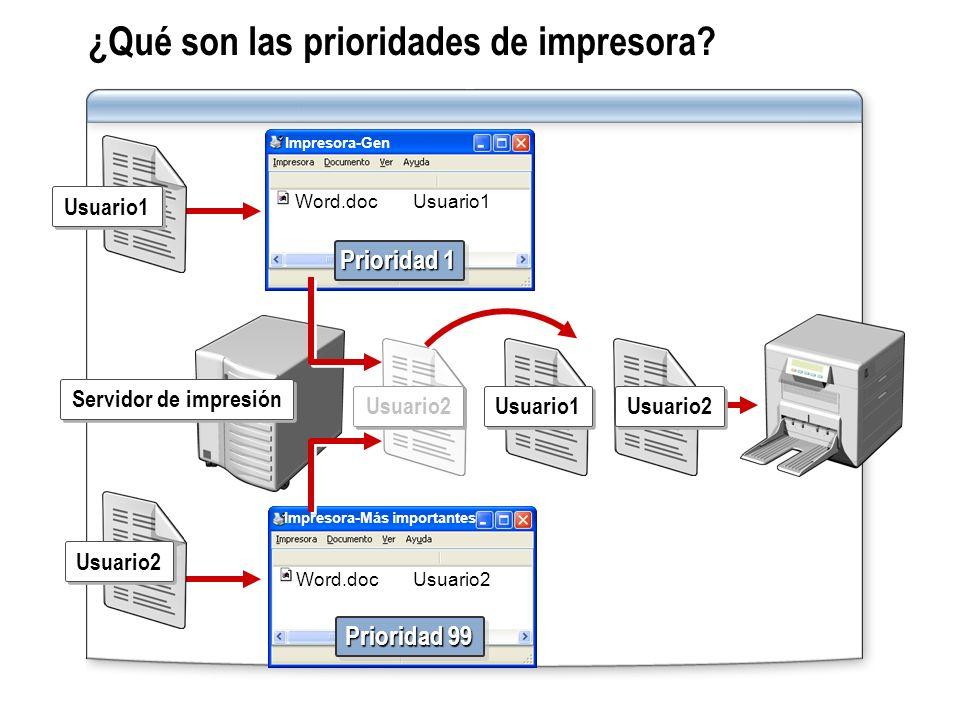 ¿Qué son las prioridades de impresora? Servidor de impresión Usuario2 Usuario1 Usuario2 Usuario1 Usuario2 Impresora-Gen Word.docUsuario1 Prioridad 1 I